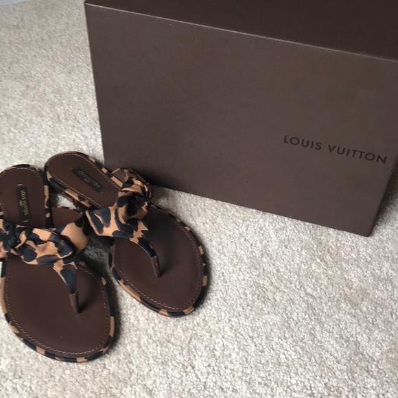 Nwt Louis Vuitton Leopard Bow Sandals